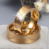 Par Alianças Casamento Baratas Zircônia Ouro 18k Côncovas