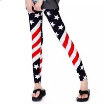 Calça Legging Estampada Bandeira Estados Unidos Pp