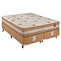 Conjunto Casal Colchao E Box Visco Molas Ensacad 138x188x71