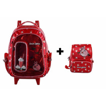 Kit Mochila Rodinhas Angry Birds Vermelha Meninas +lancheira