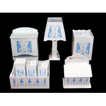 Kit Quarto Bebê Banho Higiene Farmacinha Ursinho Azul Bb 3d