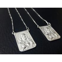 Escapulário Masculino De Prata 925 Com 60cm Coração De Jesus