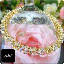 Pulseira Safira Amarela E Diamante Folh Ouro 18k (008)