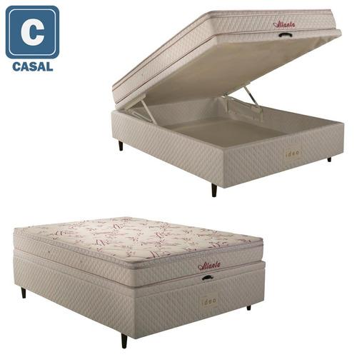 Cama Box Baú Casal Herval + Colchão Atlanta Mola Bonnel