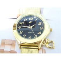 Relógio De Pulso Potenzia Dourado Lindo Fundo Preto