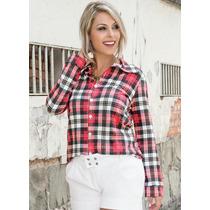 Camisa Feminina Blusa Xadrez Manga Longa - Vermelho Barato!