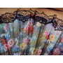 Leque Com Estampa Floral Colorida E Renda Preta