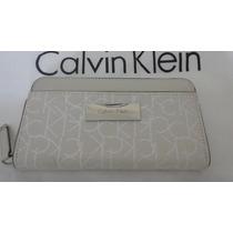 Carteira Calvin Klein Fem Cor Creme Cinza 100% Original
