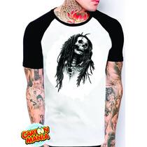 Camiseta Raglan Bob Marley Caveira Masculina Ou Feminina