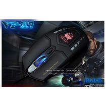 Mouse Gamer Pc Vp-x7 Com 6 Botões 2400 Dpi Usb Multicolorido