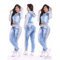 Blusa Casaco Jaqueta Jeans Feminina Com Moletom