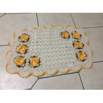 Tapete Barbante - Branco, Flores Amarelas - 52x80cm