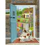 Welsh Springer Spaniel Na Porta Da Casa Da Bandeira Da Lona