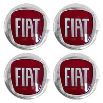 Kit 4 Emblema Adesivo Relevo Roda Calota Fiat Punto Vermelho