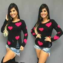 Blusa De Frio Feminina De Lã Tricô Barbie/coração
