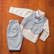 Conjunto Infantil Masculino Para Batizado Branco Com Azul