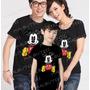 Camiseta Mickey Minnie Preta Tal Pai Tal Mãe Tal Filho Com 3