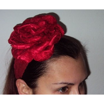 Turbante Faixa Rosa Vermelha Gigante De Renda Cabelo Natal