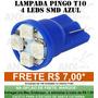 Lâmpada Pingo 4 Led Azul T10 Luz Farolete Teto Placa