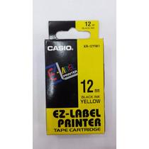 Fita Para Etiquetadora Casio Xr-12mm Original Preto Amarelo
