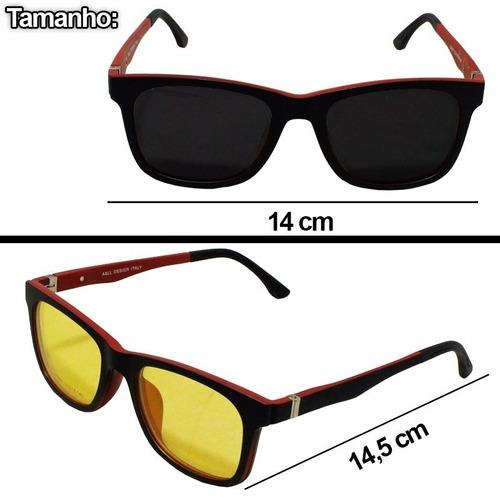 Armação P/ Óculos De Grau Aste Mola Tr90 Clipon Polarizada
