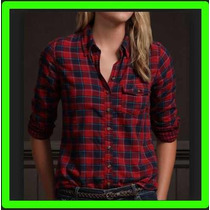 Camisa Xadrez Feminina Flanela Com Bolso