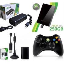 Controle Xbox 360 Sem Fio+bateria 12000+hd 250gb+fonte Slim