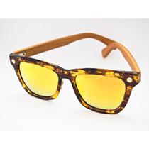 Óculos Solar Lougge Madeira Espelhado Marrom E Dourado