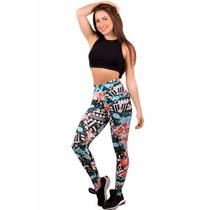 Calça Leg Legging Suplex Estampada Academia Fitness Verão