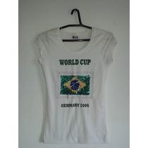 Blusa Feminina Branca Estampa Copa Do Mundo Cód. V4