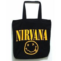 Bolsa Sacola Nirvana Em Sarja Com Zíper E Bolso Interno Rock