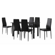 Mesa Em Vidro Com 6 Cadeiras Couro Para Escritorio E Reuniao