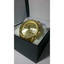 Relógio Estilo Diesel Dourado Pronta Entrega Com Box