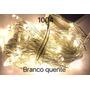 Pisca 100 Lâmpadas 8 Funções Branco Quente Fio Transparente