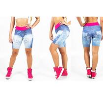 Bermuda-shorts -shortinho -jeans Fake-sublimado-cós Rosa