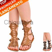 Sandálias Rasteiras Gladiadoras Media - Chiquiteira Outlet