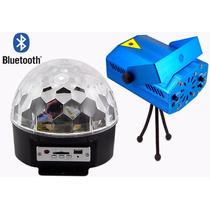 Kit Festa Projetor +globo Pen Drive Usb Sd Mp3 Luz Bluetooth