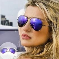 Óculos Ray Ban Aviador Roxo Espelhado 100% Original Promoção