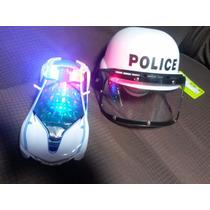 Carro Carrinho De Polícia Militar + Capacete - Fret16