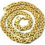 Cordão Grosso Bizantino Aço Inox Banho Ouro - Frete Grátis!!