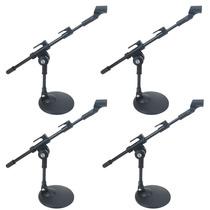Kit 4 Pedestal Suporte De Mesa Para Microfone Mini Girafa