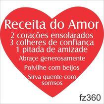 Adesivo Parede Frase Coração Receita Do Amor Fz360