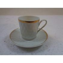 Xícara Café Porcelana Real Antiga Com Borda Dourada