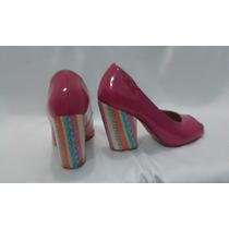 Sapato De Salto Feminino Peep Toe Rosa Salto Grosso