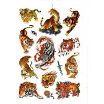 Kit Com 81 Tatuagem Temporária Mot. Tigre Tribal Frete Gráti