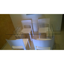 Mesa E Aparador Base Mármore Travertino Com 4 Cadeiras