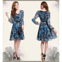 Vestido Crepe De Seda Estampa Floral Tamanho G