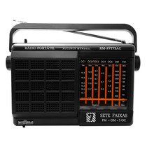 Rádio Motobrás Portátil 7 Faixas Rm-pft 73ac Pilha E Luz