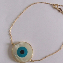 Pulseira Olho Grego 15mm Ouro 18k Adulto