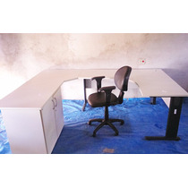 Mesa Para Escritório Em L Com Cômoda E Cadeira